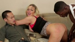 gorgeous blonde bbw invites a huge bbc back to her place hubby watches